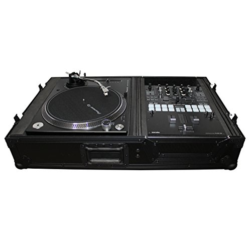 Single Turntable - ProX XS-TMC1012WBL Flight Case w/Wheels for Single Turntables+10