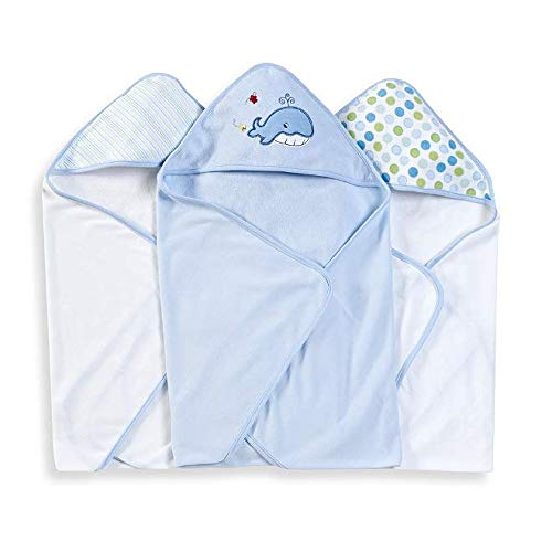 Spasilk 3 pack Soft Terry Hooded Towel Set, Blue