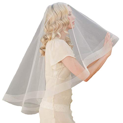 CanB Bridal Mantilla Wedding Veils Ivory Ribbon Edge Chiffon Bride Hair Accessory