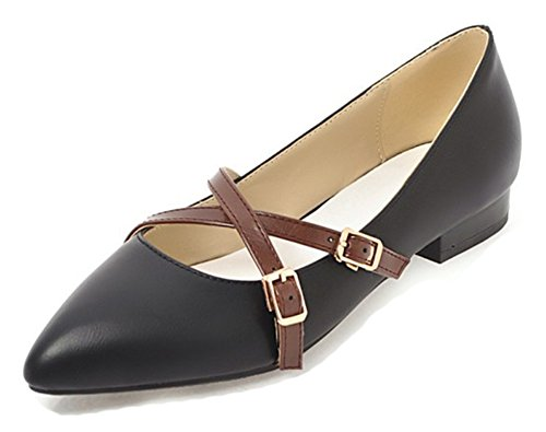 Aisun Shoes Fashion Strappy Cut Chunky Low Black Low Heels Comfy Pointed Buckled Womens Toe Pumps rTqOrH