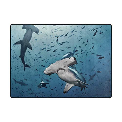 (Area Rug Carpet Fantasy Shark Fish Underwater World Soft Non-Slip Runner Mat 3'x5', Indoors/Bedroom/Living/Dining/Kitchen Floor Mats,8mm High Pile Height,Rectangular )