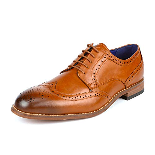 Bruno Marc Men's William_2 Brown Camel Classic Brogue Wing Tip Lace Up Soft Round-Toe Oxfords Dress Shoes Size 9.5 M US
