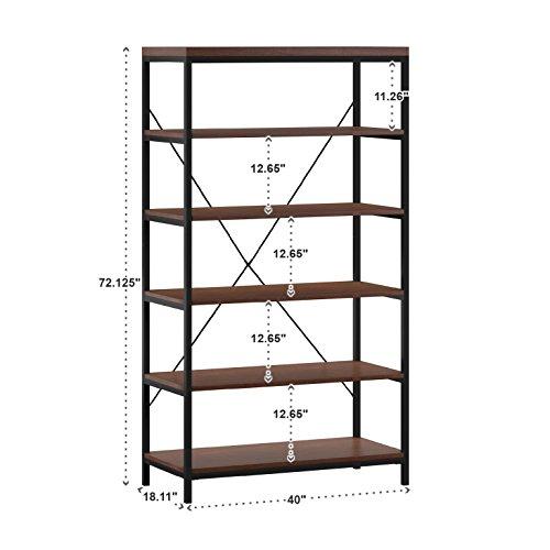 MattsGlobal Stylish MDF Birch Veneer Wood Open Back 6 Tier Bookshelf Media Tower 40