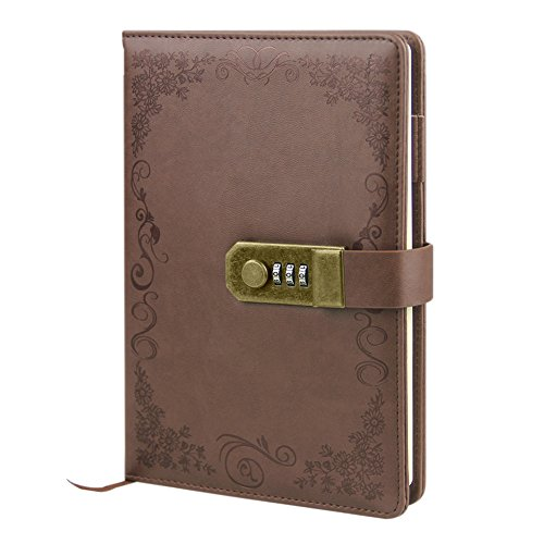 (Hardcover Executive Notebooks Personal Organizer A5 PU Leather Locking Journal Digital Password Notebook Combination Lock Diary Retro Travel Lined Planner Agenda with Pen Loop 3 Card Slots 100 Sheet)