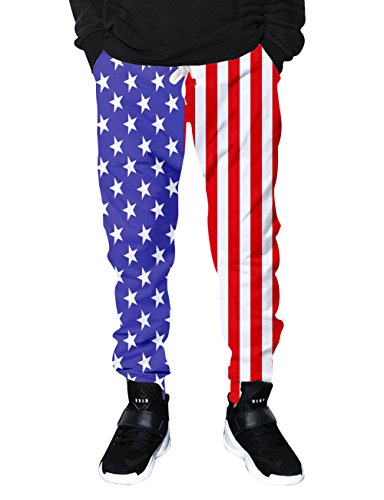RAISEVERN Men Women American Flag Stars Stripes Print Hip Hop Novelty Jogger Pant Graphic Track Sweatpants With Drawstring Pockets - Fashion American Flag