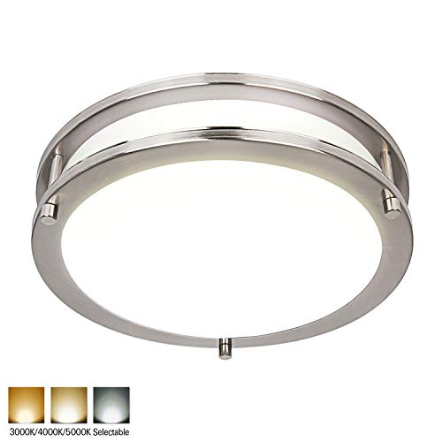 Hykolity 10 Inch Dimmable LED Ceiling Light, 17W [120W Equivalent] 1100lm 3000K/4000K/5000K Brushed Nickel Finish Saturn Flush mount Ceiling Lamps, ETL for Hallway, Bathroom, Kitchen, Bedroom