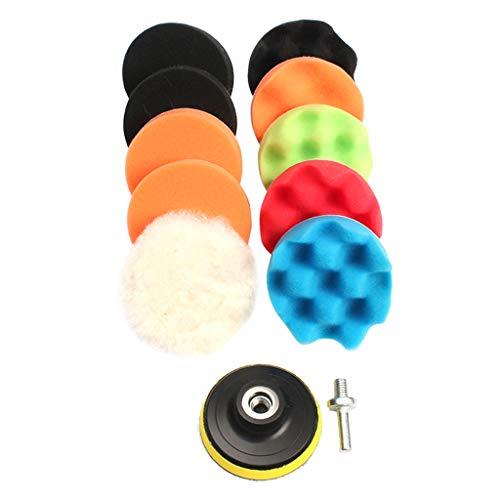 (Baosity 11 Pieces 6 Inch Sponge Polishing Waxing Buffing Pads Kit Set Compound Auto Car Random Color)