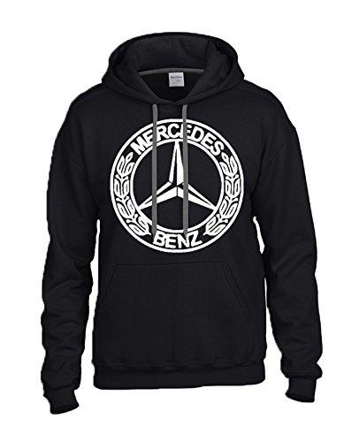MERCEDES-BENZ White Logo on Black Hooded Sweater / Sweatshirt (Hoodie) - SIZE LARGE