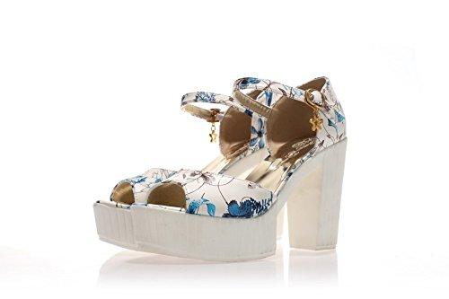 AmoonyFashion Womens Pu Assorted Color Buckle Peep Toe High Heels Sandals Blue W1VhILB