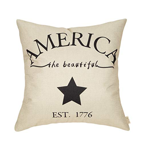 Fjfz July 4th Farmhouse Decorative Throw Pillow Cover America Est. 1776 Patriotic Sign Decoration Rustic Home Decor Cotton Linen Cushion Case for Sofa Couch, 18