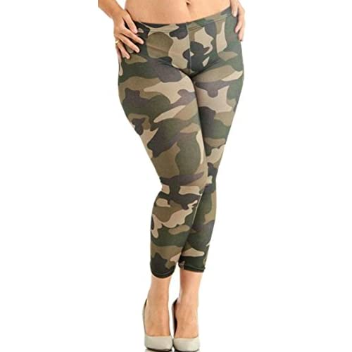 Nice Cruiize Womens Camouflage Print Plus Size Stretch Casual Pant Legging