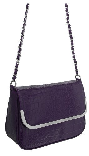 Croc Bag Shoulder Patent Chloe Faux EyeCatch Leather Purple Effect 5qvSnwz