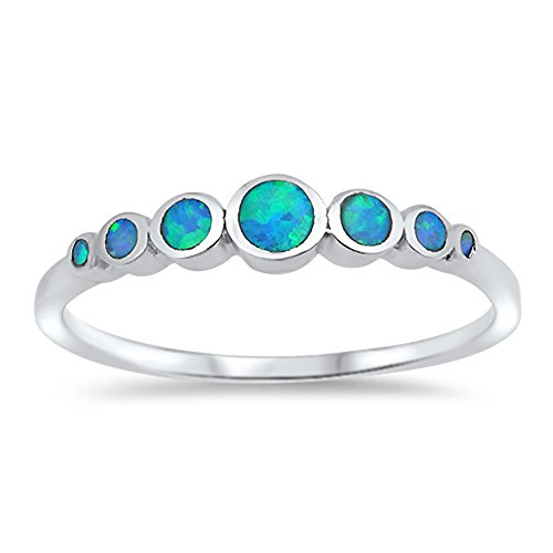 Round Circle Blue Simulated Opal Journey Ring New .925 Sterling Silver Band Size 6 ()