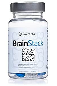 BrainStack 3.0 All-Natural Brain Health, Concentration & Memory Support Supplement Non-Habit-Forming Formula