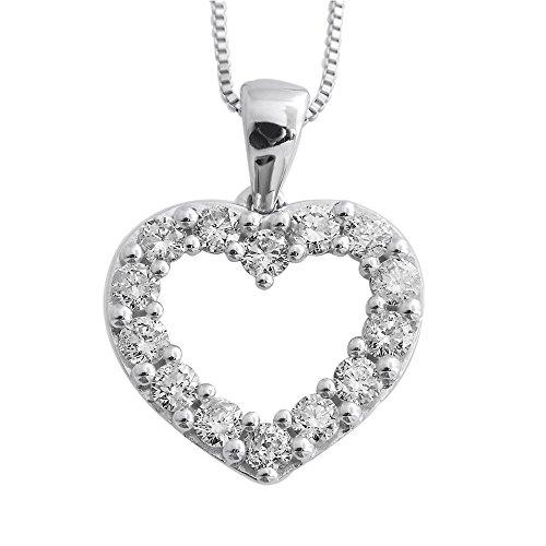 Necklace Heart Diamond 1/2 Ct (10k White Gold Heart Diamond Pendant Necklace (1/2 Carat))