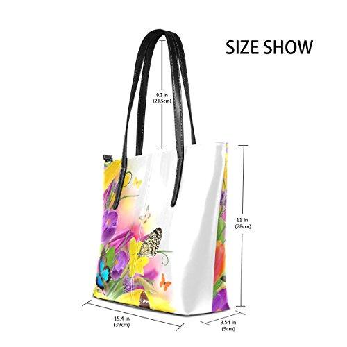 COOSUN Blumen Frühling Schöne Bunte Narzissen B PU Leder Schultertasche Handtasche und Handtaschen Tasche für Frauen