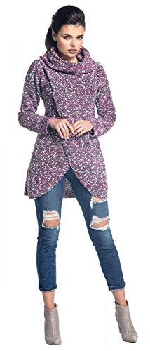 Zeta Ville - Suéter Jersey de Punto Pulóver Diseño de Doble Capa - mujer - 359z Rosa & Blanco