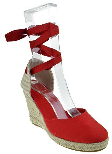 BAMBOO Timeoff 02 Womens Closed Toe Leg Wrap Espadrille Wedge Dress Sandals Red 8