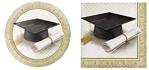 Classic Graduation Dessert Plates (16) and Beverage Napkins (16) Bundle