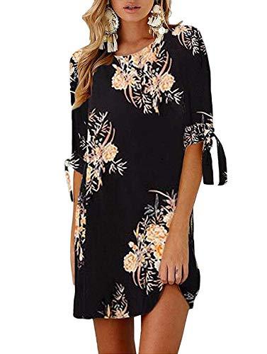 Women Casual 3 4 Tie Sleeve Crew Neck Floral Tunic Shift A Line Shirt Mini Dress Black Large