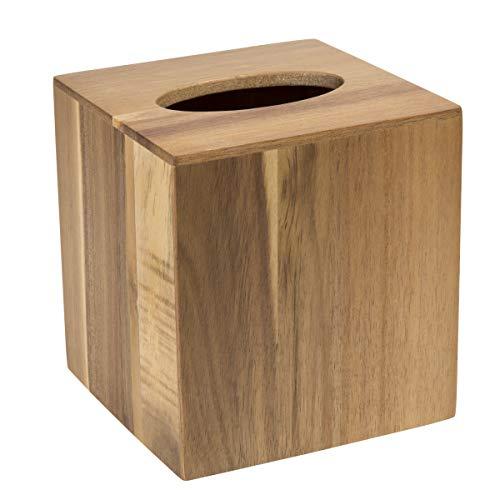(Creative Home Acacia Bath Tissue Box Holder, Cover, Natural)