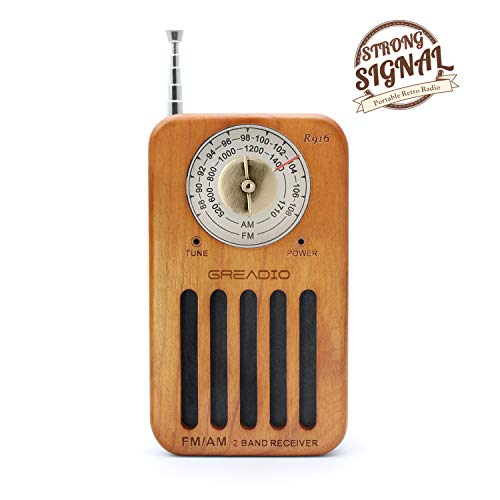 - AM/FM Portable Radio, Retro Cherry Wood Pocket Radio with Best Reception, Headphone Jack, Battery Operated Personal Transistor by 2 AA Battery for Jogging, Walking and Travelling