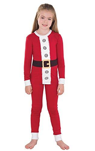 PajamaGram Santa Pajamas for Christmas w/Long-Sleeved Top, Red, Big Girls' 8 -