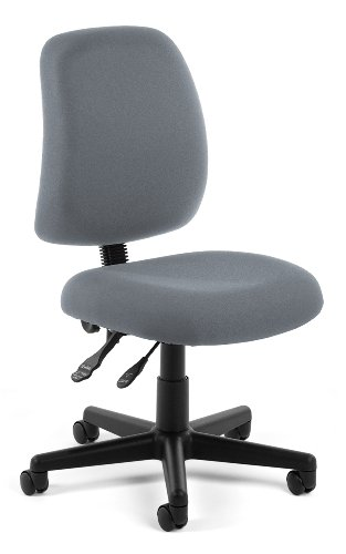 OFM Posture Series Armless Mid Back Task Chair – Stain Resistant Fabric Swivel Chair, Gray (118-2)