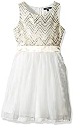 Girls' Sleeveless Dress with Sequin Chevron Top