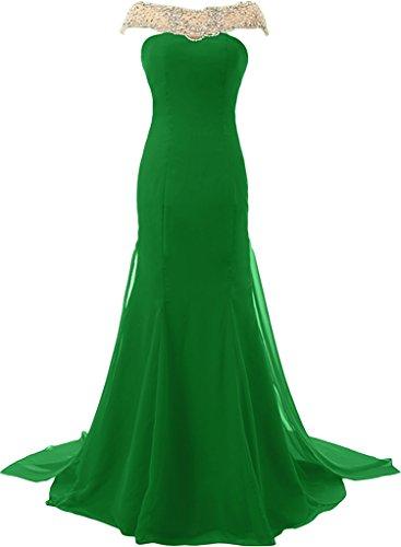 ivyd ressing–Style plein PIERRES strass mousseline & tuell Prom robe festjkleid Party robe robe du soir -  Vert - 36