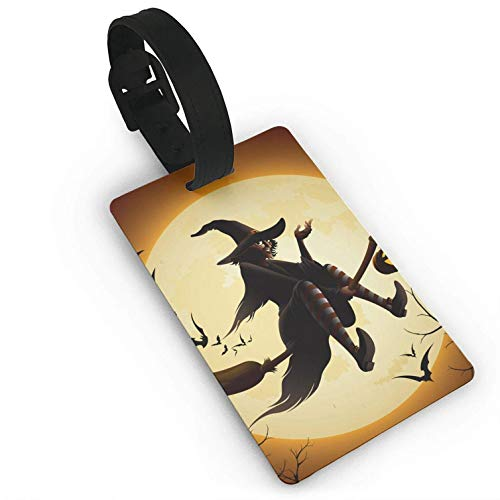 Luggage Tags Holders for Travel Luggage, Luggage Tags for Suitcases, Pocus Flying Witch Halloween Plastic PVC Luggage Tags Suitcase Labels Travel Bag ID Tags -
