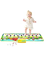 "M SANMERSEN Kids Piano Mat, 39.5"" X 14"" Piano Keyboard Dancing Mat Electronic Funny Animal Touch Carpet Musical Blanket Toys 2 Year Old Girl Birthday Gifts for Kids Girls Boys Green"