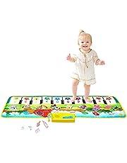 "M SANMERSEN Kids Piano Mat, 39.5"" X 14"" Piano Keyboard Dancing Mat Electronic Funny Animal Touch Carpet Musical Blanket Toys 3 Year Old Girl Birthday Gifts for Kids Girls Boys Green"