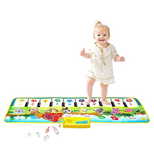 "M SANMERSEN Kids Piano Mat, 39.5"" X 14"" Piano Keyboard Dancing Mat Electronic Funny Animal Touch Carpet Musical Blanket Toys for 3 Year Old Girl Birthday Gifts for Kids Girls Boys Green"
