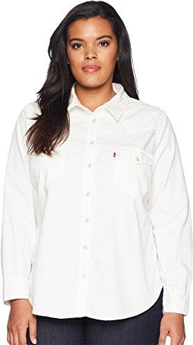Levi's Women's Plus Size Western Shirt, Beat up White, 1 X