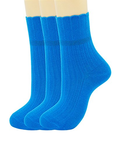 SRYL womens Super soft Combed cotton socks 3-Pairs,5-Pairs(Multicolor may choose)C317 (3 pairs-Bright blue) from SRYL