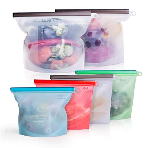 Reusable Silicone Food Storage Bags Ideal for Snack Lunch Sandwich Fruit Vegetable Stationery Travel Ziplock Sous Vide Airtight and Microwave Freezer Dishwasher Safe no BPA Pack Of 6