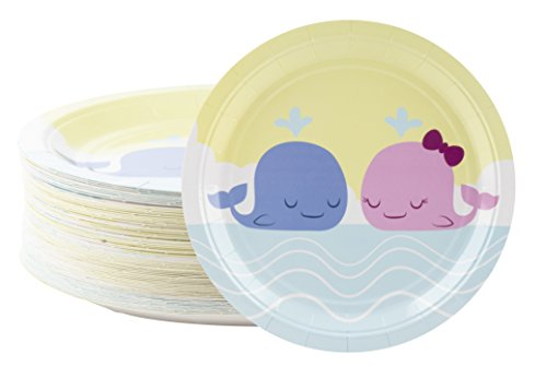 Disposable Plates - 80-Count Paper Plates, Gender Reveal Party Supplies for Baby Shower, Lunch, Dinner, and Dessert, Whales Design, 9 x 9 inches