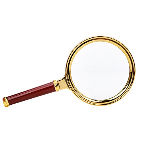 Magnifier Glass Made Handheld Magnifying Glass with 5X Illuminated Loupe Lens Detachable Red Wooden Handle for Seniors Reading Book Page Maps Hobbies Great Tool for Visual Impairment by LONTG (Image #4)