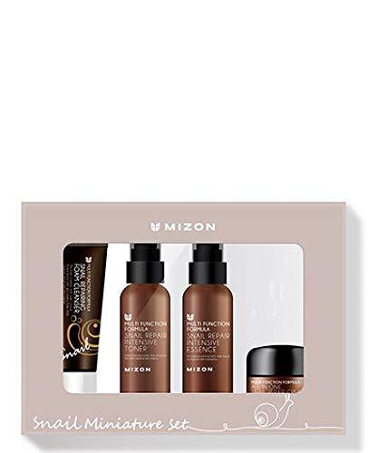 Mizon Korean Snail Skincare Essentials Set – Mini Sized Snail Foam Cleanser, Toner, Essence, and All in One Facial Cream…