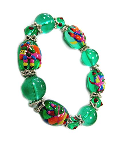 Linpeng Mexican Fiesta Hand Painted Pinata On Glass Beads Stretch Bracelet