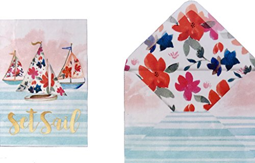 Boxed Set of 12 Gold Foil Floral Sailboats Blank Note Cards,Set Sail 73796 (12 Boxed Notes)