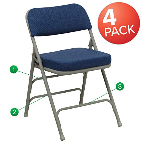 Flash Furniture 4 Pk. HERCULES Series Premium Curved Triple Braced Double Hinged Navy Fabric Metal Folding Chair