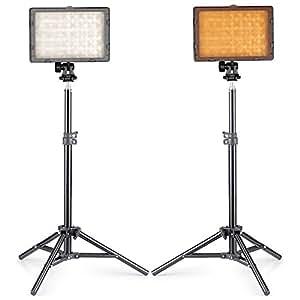 """Neewer® Foto Estudio CN-216 Kit de LED iluminación para Canon, Nikon, Pentax, Panasonic, Sony, Samsung y Olympus Cámaras digitales con lente único, incluyen (2) CN-216 LED Luz de vídeo + (2) 32 """"/ 80cm Mini Soporte de Luz"""