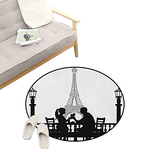 Romantic Round Area Rug Non-Slip ,Couple Having a Romantic Dinner in Front of The Eiffel Tower Capital of Love, Living Room Bedroom Coffee Table 23