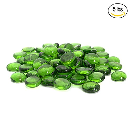 Green Glass Vase - Green Flat Marbles, Pebbles, Glass Gems for Vase Fillers, Party Table Scatter, Wedding, Decoration, Aquarium Decor, Crystal Rocks, or Crafts by Royal Imports, 5 LBS (approx 400 pcs)