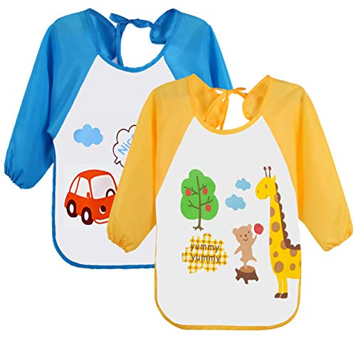 Leyaron 2 Pack Unisex Infant Toddler Baby Waterproof Sleeved Bib, 6 Months-3 Years
