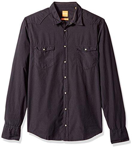 BOSS Orange Men's Erodeo Long Sleeve Shirt, Black, XL by Hugo Boss