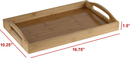 Serving tray bamboo - wooden tray with handles - Great for dinner trays, tea tray, bar tray, breakfast Tray, or any food tray - good for parties or bed tray by HOME IT- (Image #3)