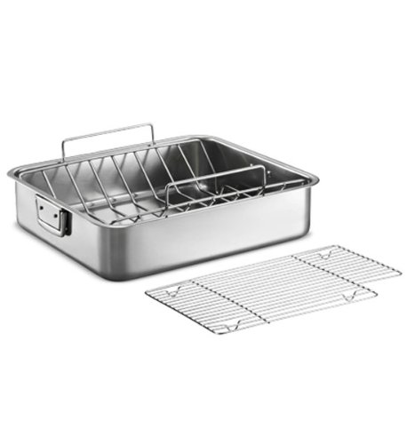 Tramontina Gourmet Premium 18/10 Staineless Steel 16.5-Inch Roasting Pan with Basting Grill and V-Rack by Tramontina